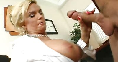 Gorgeous blonde bombshell Diamond Foxxx with curvy tits enjoys riding a massive and hard dangler