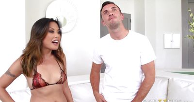 Delectable brunette gf Kaylani Lei with big natural tits is getting fucked from the back and moaning from pleasure